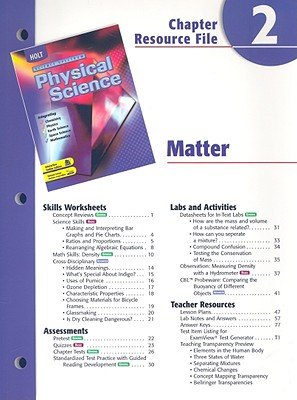 Image for Physical Science Matter Chapter 2 Resource File [Paperback]  by