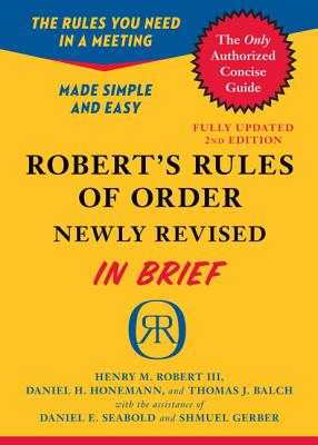 Image for ROBERT'S RULES OF ORDER NEWLY REVISED IN