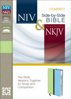 """Image for """"NIV and NKJV Side-by-Side Compact Bible (Melon  GreenTurquoise Italian Duo-Tone, Gilded-Silver Pag"""""""