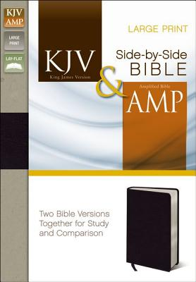 "Image for ""KJV, Amplified, Parallel Bible, Large Print, Bonded Leather, Black, Red Letter Edition: Two Bible V"""