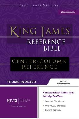 "Image for ""''King James Reference Bible - Center Column (Thumb Indexed, Navy Bonded Leather, Silver Gilded Page''"""