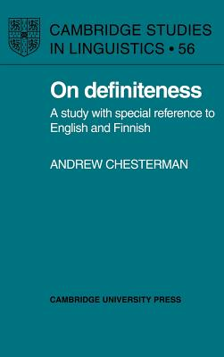 Image for On Definiteness: A Study With Special Reference To