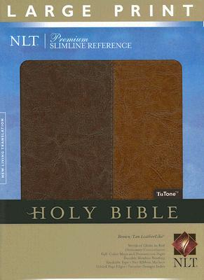 Image for Premium Slimline Reference Bible NLT, Large Print, TuTone (Red Letter, LeatherLike, Brown/Tan)