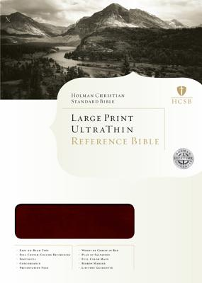 HCSB Large Print UltraThin Bible - Mahogany Simulated Leather