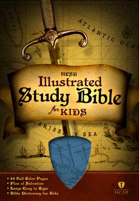 HCSB Illustrated Study Bible for Kids, Blue LeatherTouch