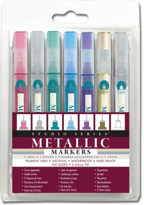 Image for Studio Series Micro-line Metallic Markers: Set of 7: Color, Draw, and Write in Shining Color Nearly Anywhere With These Fine-point Paint Markers! (Narrow 0.5 Mm Tips Let You Work in Fine Detail