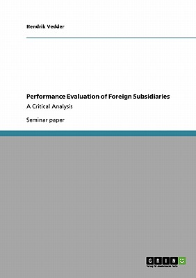 Performance Evaluation of Foreign Subsidiaries, Vedder, Hendrik